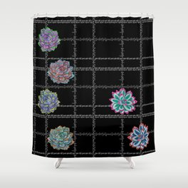 'Not Your Babe' tartan succulent print Shower Curtain
