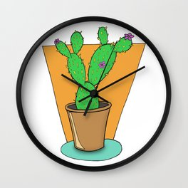 Cacti with Flowers Wall Clock