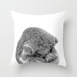 koala holding little koala b&w Throw Pillow
