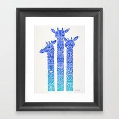 Giraffes – Blue Ombré Framed Art Print