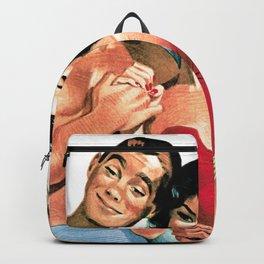 Vintage Illustration of Men and Women in Bathing Suits Backpack