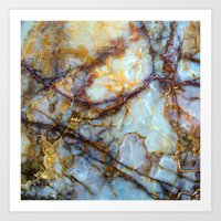 games Art Prints featuring Marble by Patterns and Textures