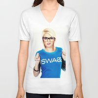 swag V-neck T-shirts featuring Swag by Taylor Brynne-Model