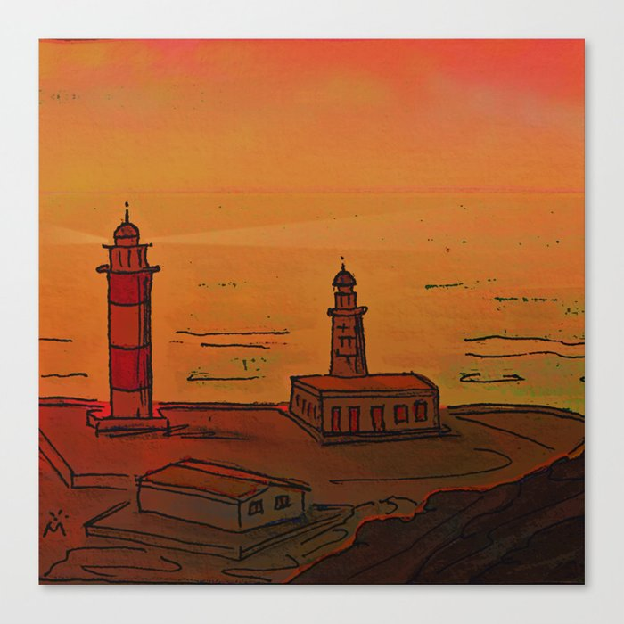 Good Morning / New and Old Lighthouse Fuencaliente La Palma Canvas Print