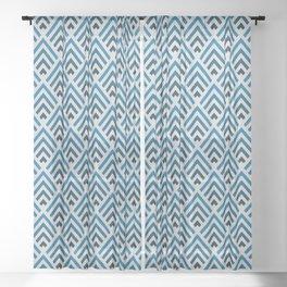Shades of Strong Blue / Chevron Sheer Curtain