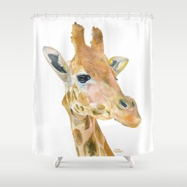 Giraffe Watercolor Shower Curtain