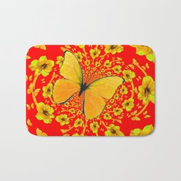 BUTTERFLIES RED  AMARYLLIS FLOWERS ABSTRACT ART Bath Mat