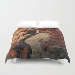 Flames of passion - sexy nude redhead girl Duvet Cover