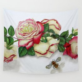 French Perfume Rose Swag Bee Art Wall Tapestry