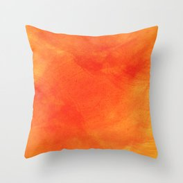 Pure Sunshine Orange and Yellow Abstract Watercolour Throw Pillow