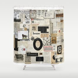 Black and White Vintage Ephemera Collage Shower Curtain