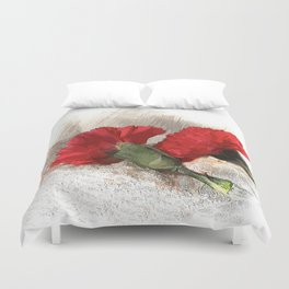 Red Carnations on Brocade Duvet Cover