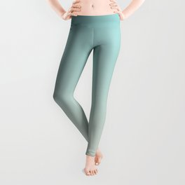 Pastel Teal and Cream Gradient Ombre Blend 2021 Color of the Year Aqua Fiesta and Horseradish Leggings