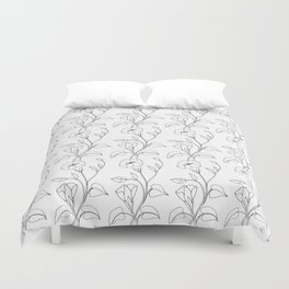 Floral Drawing in black and white Duvet Cover
