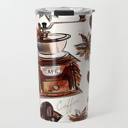 Coffee watercolor pattern with grains coffee mill and chocolate Travel Mug