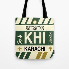 KHI Karachi • Airport Code and Vintage Baggage Tag Design Tote Bag