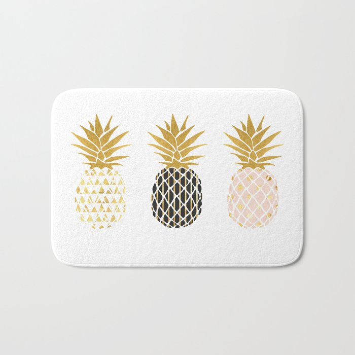 fun pineapple design gold Bath Mat