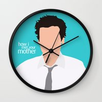 himym Wall Clocks featuring Ted Mosby from HIMYM by Rosaura Grant