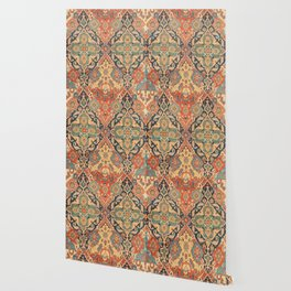 Geometric Leaves VIII // 18th Century Distressed Red Blue Green Colorful Ornate Accent Rug Pattern Wallpaper