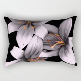 Black and White Ant Lilies Flower Scanography Rectangular Pillow