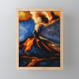 Volcanic eruption. abstract pastel drawing on black background Framed Mini Art Print