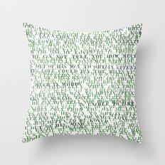 Sentences of Love Green Throw Pillow