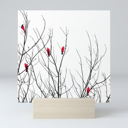 Artistic Bright Red Birds on Tree Branches Mini Art Print