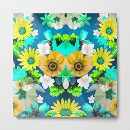 Flower mess - Blue Chaos Metal Print
