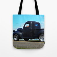 fargo Tote Bags featuring Cruising the Waterfront in the old Fargo by DanByTheSea
