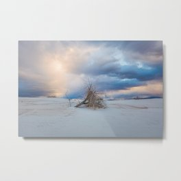 Adrift - Lone Tree In White Sands New Mexico Metal Print