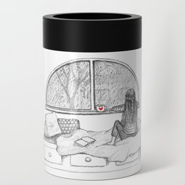 Rainy Day Window pencil illustration Can Cooler