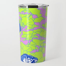 Neon Tigers and Water Lillies. Travel Mug