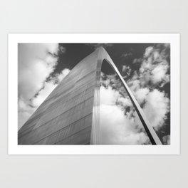 Saint Louis Gateway Arch and Puffy Clouds - High Dynamic Range Black and White Art Print