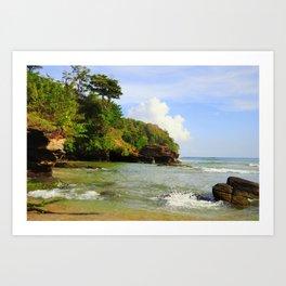 Caribbean beach morning Art Print