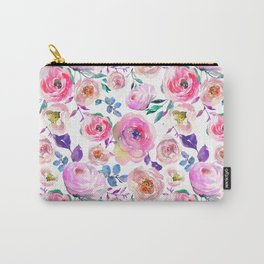 Lilac pink lavender hand painted watercolor roses floral Carry-All Pouch