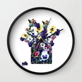 A pot of pansies Wall Clock