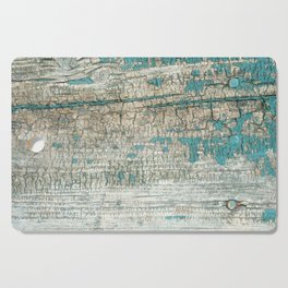 Rustic Wood Turquoise Weathered Paint Wood Grain Cutting Board