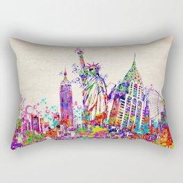 New York skyline colorful collage Rectangular Pillow