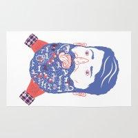 beard Area & Throw Rugs featuring Animals in Beard by David Penela