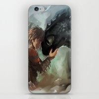 hiccup iPhone & iPod Skins featuring hiccup & toothless by AkiMao