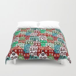 Christmas Village in Watercolor Red + Green Duvet Cover