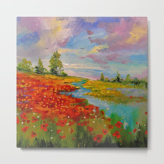 Poppies by the lake Metal Print