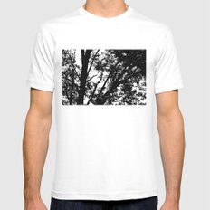 Pecan Tree Silhouette Mens Fitted Tee SMALL White