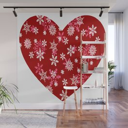 Red Heart Of Snowflakes Loving Winter and Snow Wall Mural