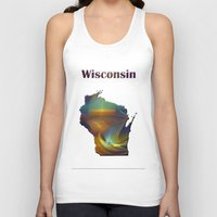 wisconsin Tank Tops featuring Wisconsin Map by Roger Wedegis