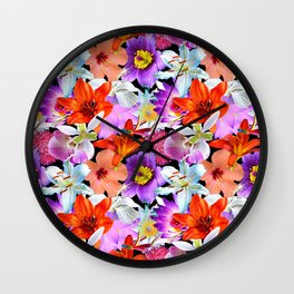 Tropical Floral Study in Black Wall Clock