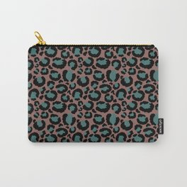 Brown & Teal Leopard Print Carry-All Pouch