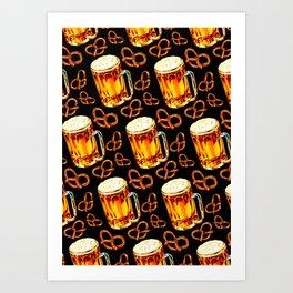 Beer & Pretzel Pattern - Black Art Print