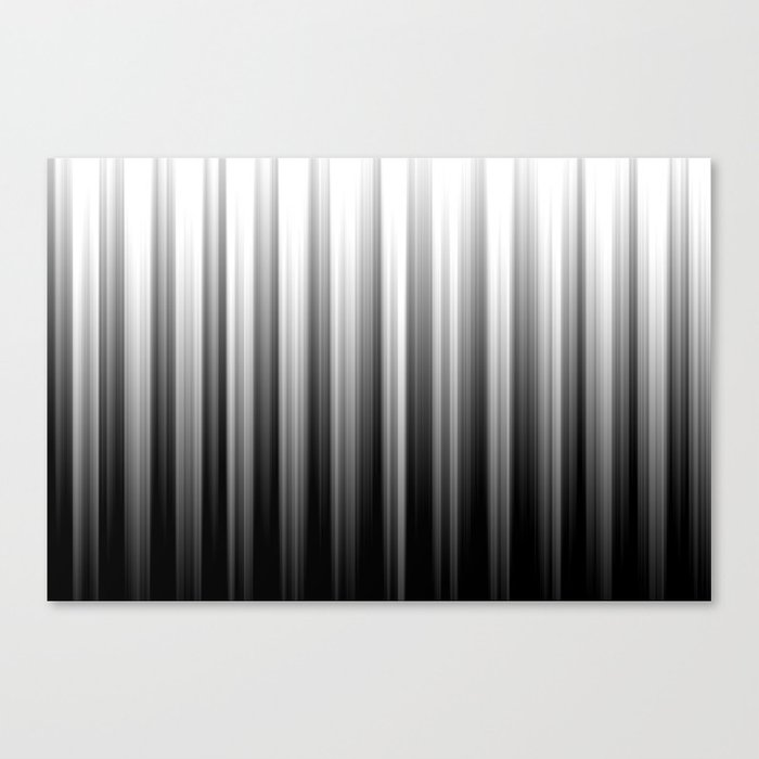 Black And White Soft Blurred Vertical Lines - Ombre Abstract Blurred Design Canvas Print