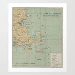 Vintage Massachusetts Lighthouse Map (1898) Art Print